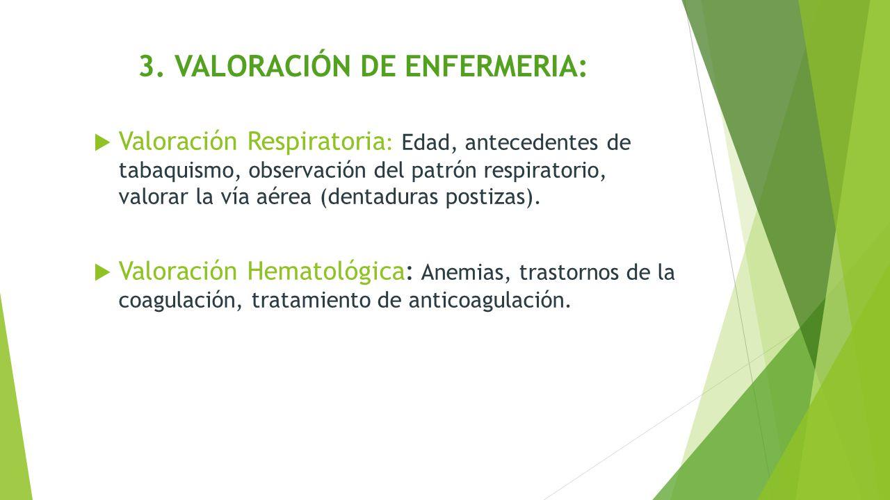 3. VALORACIÓN DE ENFERMERIA:  Valoración Respiratoria : Edad, antecedentes de tabaquismo, observación del patrón respiratorio, valorar la vía aérea (
