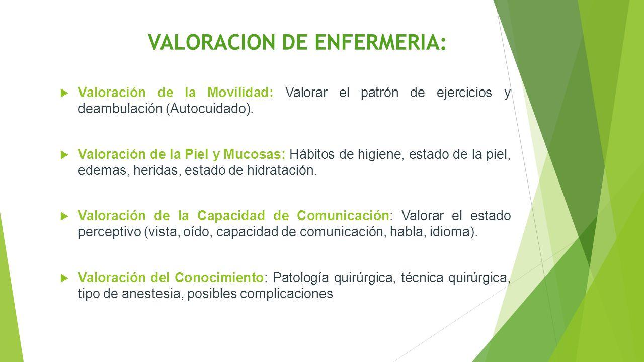 VALORACION DE ENFERMERIA:  Valoración de la Movilidad: Valorar el patrón de ejercicios y deambulación (Autocuidado).  Valoración de la Piel y Mucosa
