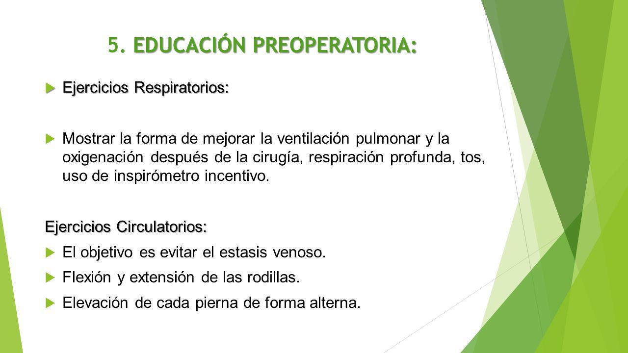 EDUCACIÓN PREOPERATORIA: 5. EDUCACIÓN PREOPERATORIA:  Ejercicios Respiratorios:  Mostrar la forma de mejorar la ventilación pulmonar y la oxigenació