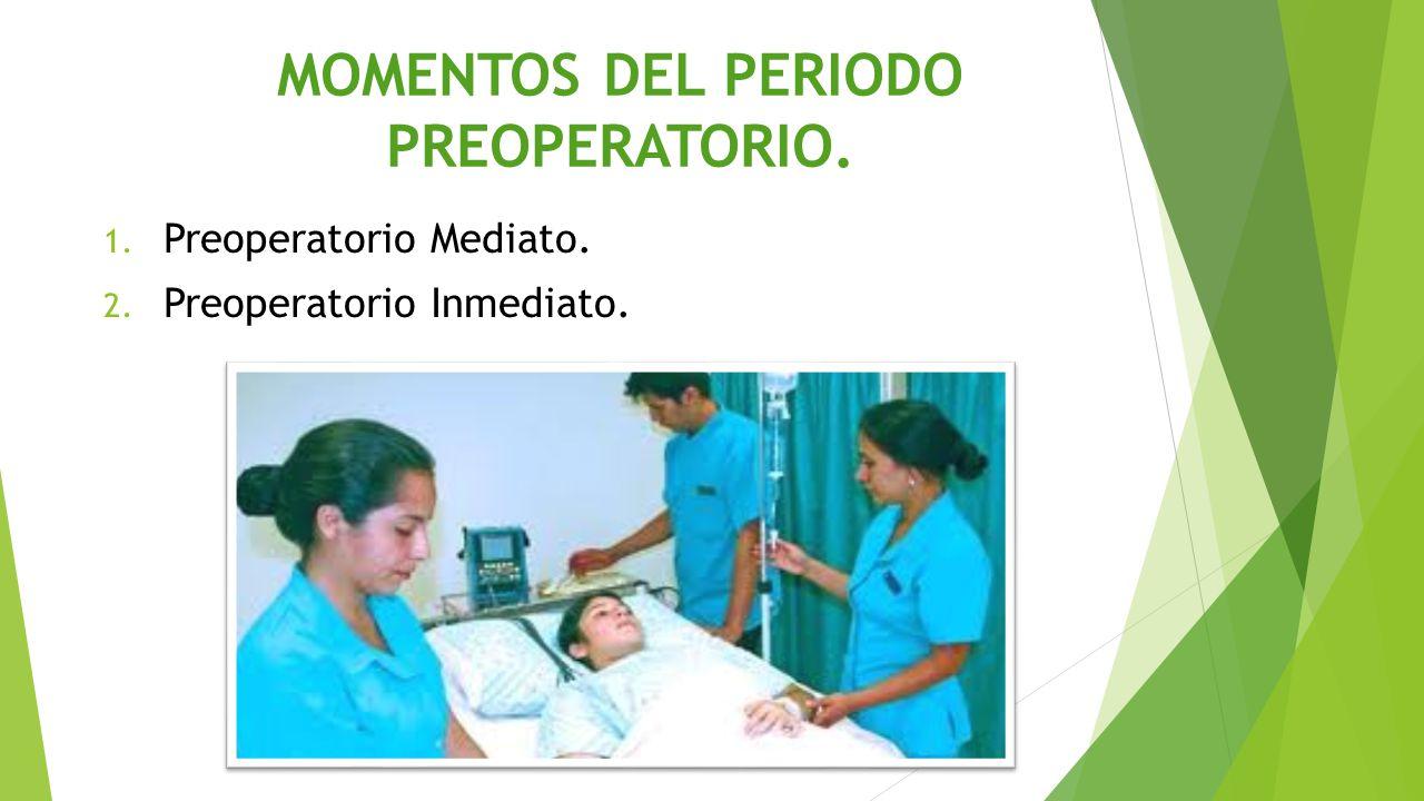 MOMENTOS DEL PERIODO PREOPERATORIO. 1. Preoperatorio Mediato. 2. Preoperatorio Inmediato.