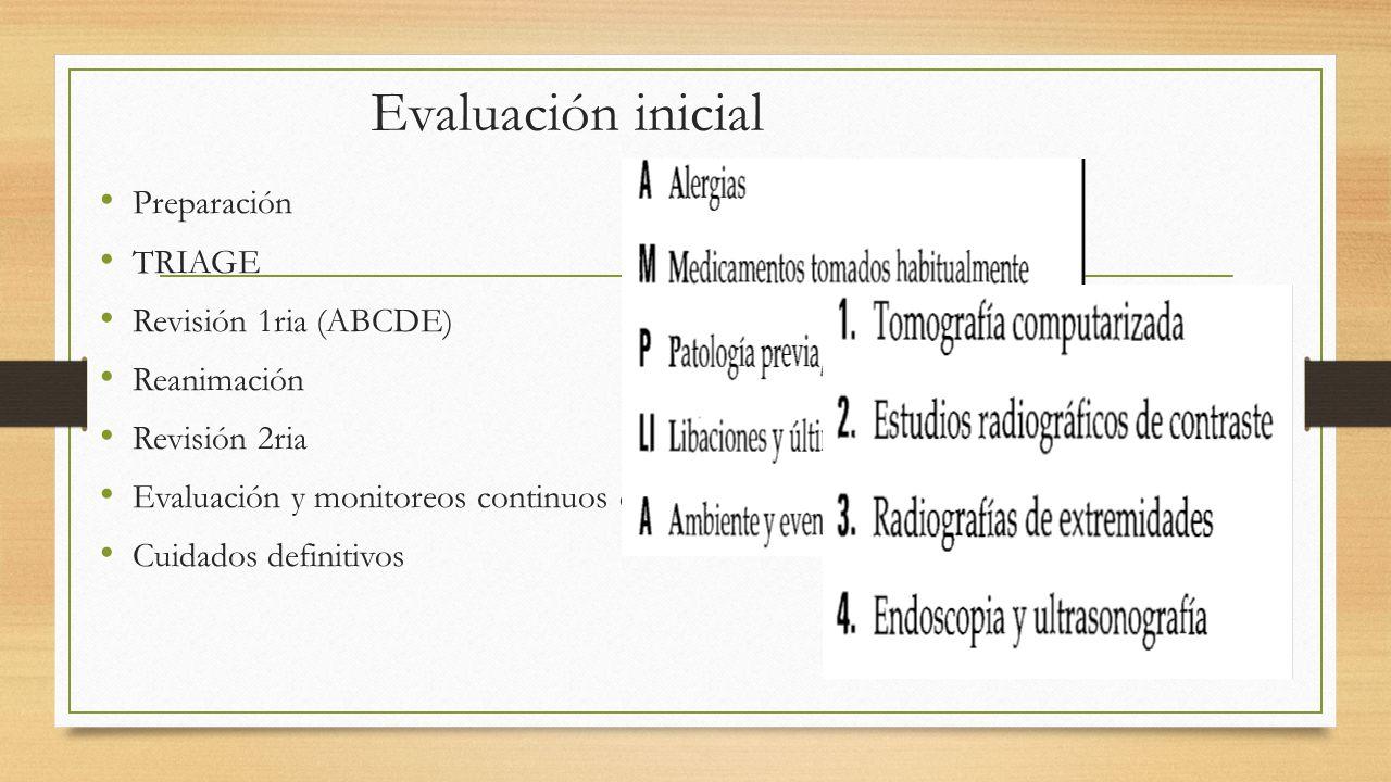 Evaluación inicial Preparación TRIAGE Revisión 1ria (ABCDE) Reanimación Revisión 2ria Evaluación y monitoreos continuos después de la reanimación Cuidados definitivos