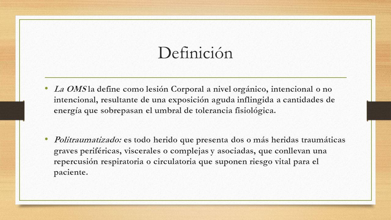 Definición La OMS La OMS la define como lesión Corporal a nivel orgánico, intencional o no intencional, resultante de una exposición aguda inflingida a cantidades de energía que sobrepasan el umbral de tolerancia fisiológica.