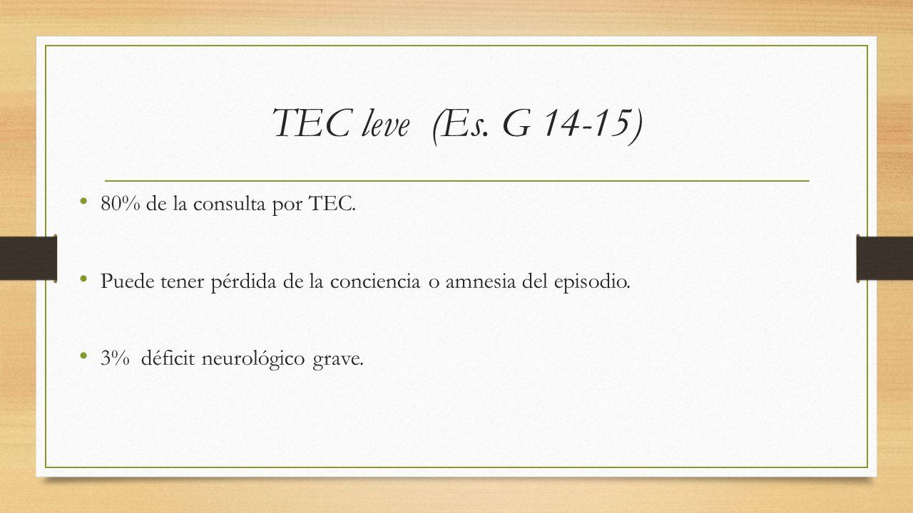 TEC leve (Es.G 14-15) 80% de la consulta por TEC.