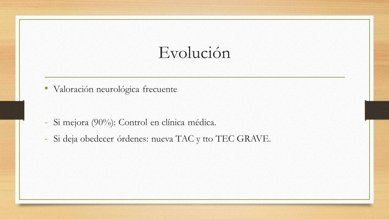 Evolución Valoración neurológica frecuente - Si mejora (90%): Control en clínica médica.