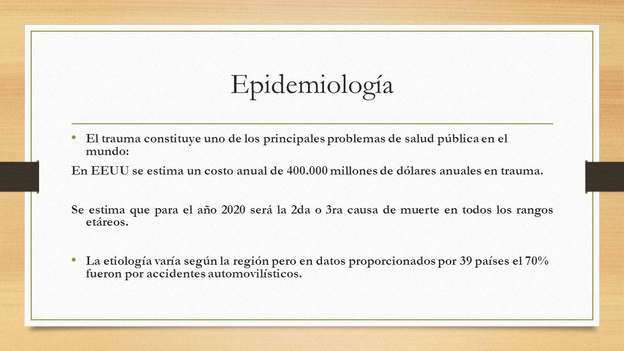 Epidemiología El trauma constituye uno de los principales problemas de salud pública en el mundo: En EEUU se estima un costo anual de 400.000 millones de dólares anuales en trauma.
