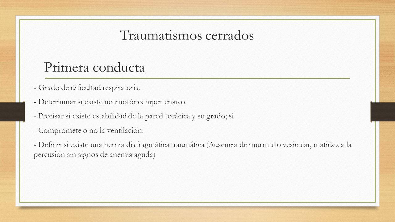 Traumatismos cerrados Primera conducta - Grado de dificultad respiratoria.