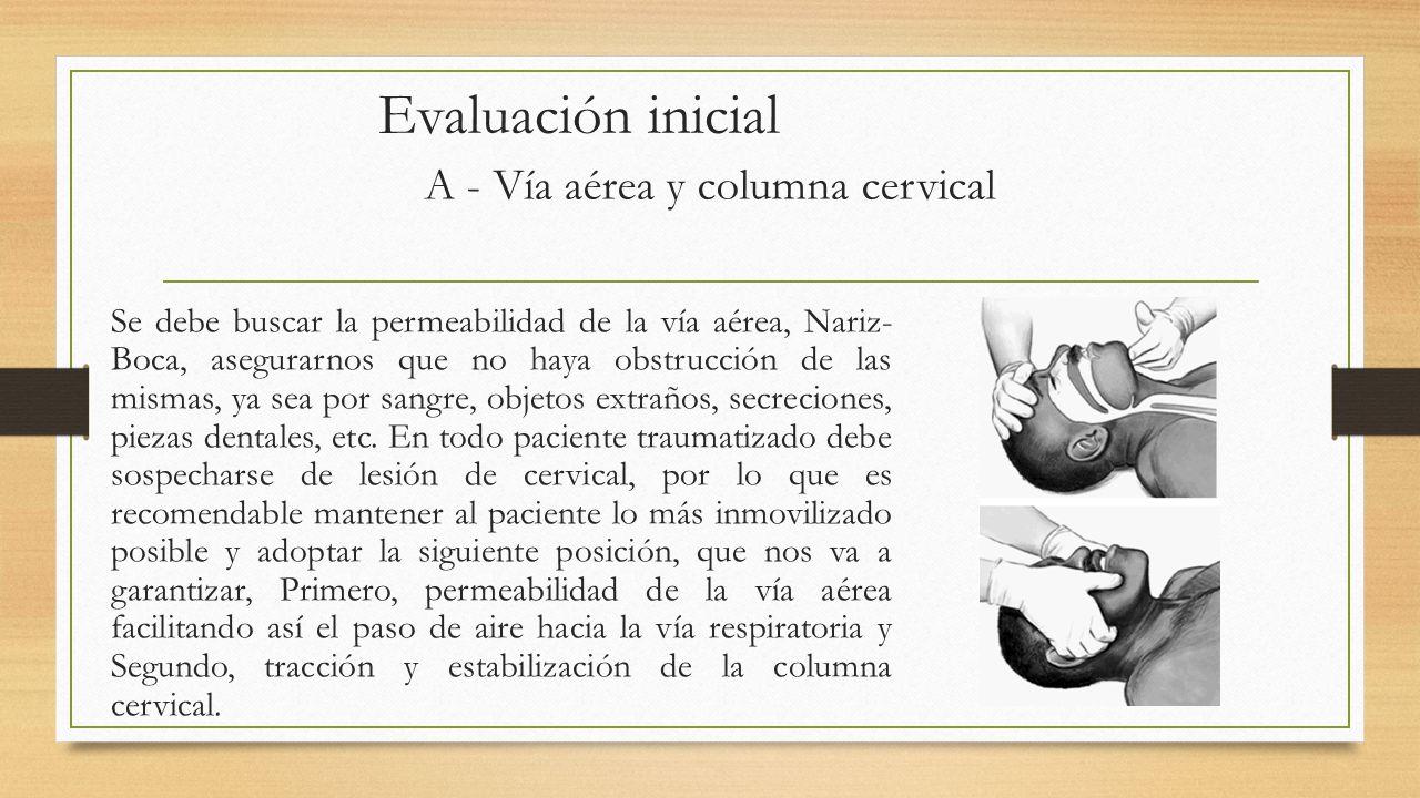 Evaluación inicial Se debe buscar la permeabilidad de la vía aérea, Nariz- Boca, asegurarnos que no haya obstrucción de las mismas, ya sea por sangre, objetos extraños, secreciones, piezas dentales, etc.