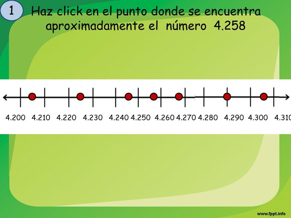 Haz click en el punto donde se encuentra aproximadamente el número 4.205 2 4.200 4.210 4.220 4.230 4.240 4.250 4.260 4.270 4.280 4.290 4.300 4.310
