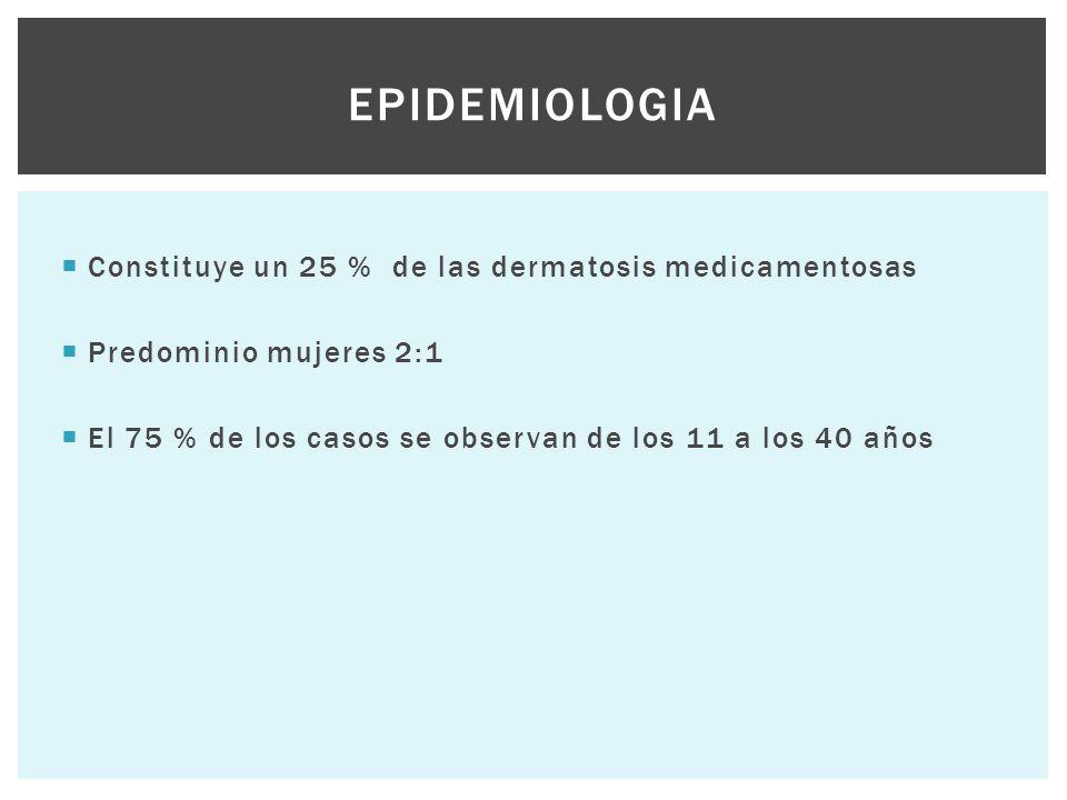  Constituye un 25 % de las dermatosis medicamentosas  Predominio mujeres 2:1  El 75 % de los casos se observan de los 11 a los 40 años EPIDEMIOLOGI