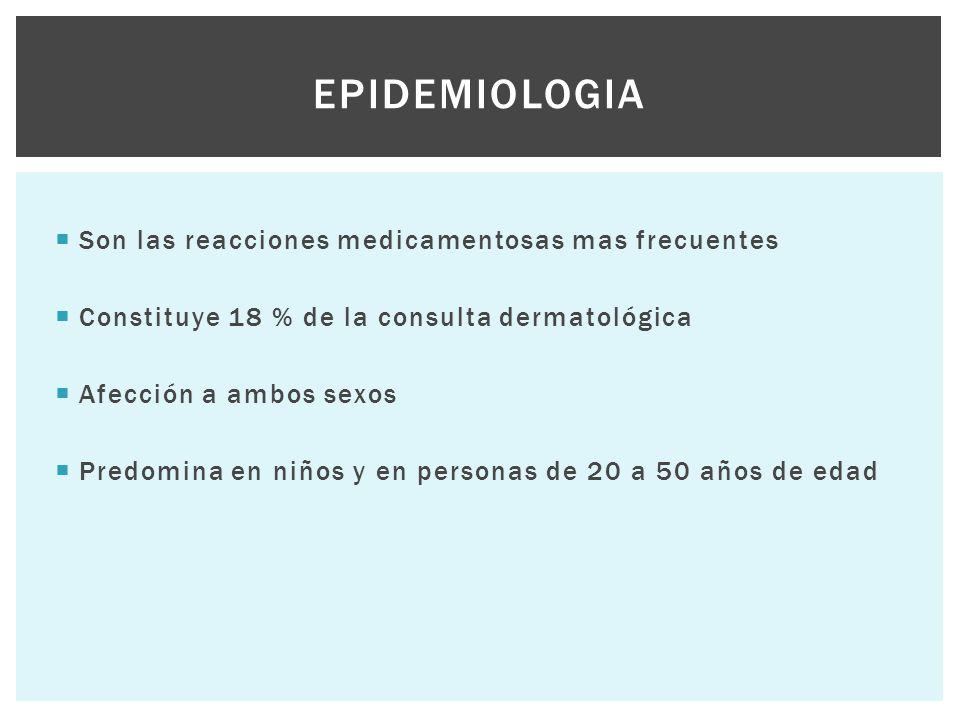  Son las reacciones medicamentosas mas frecuentes  Constituye 18 % de la consulta dermatológica  Afección a ambos sexos  Predomina en niños y en p