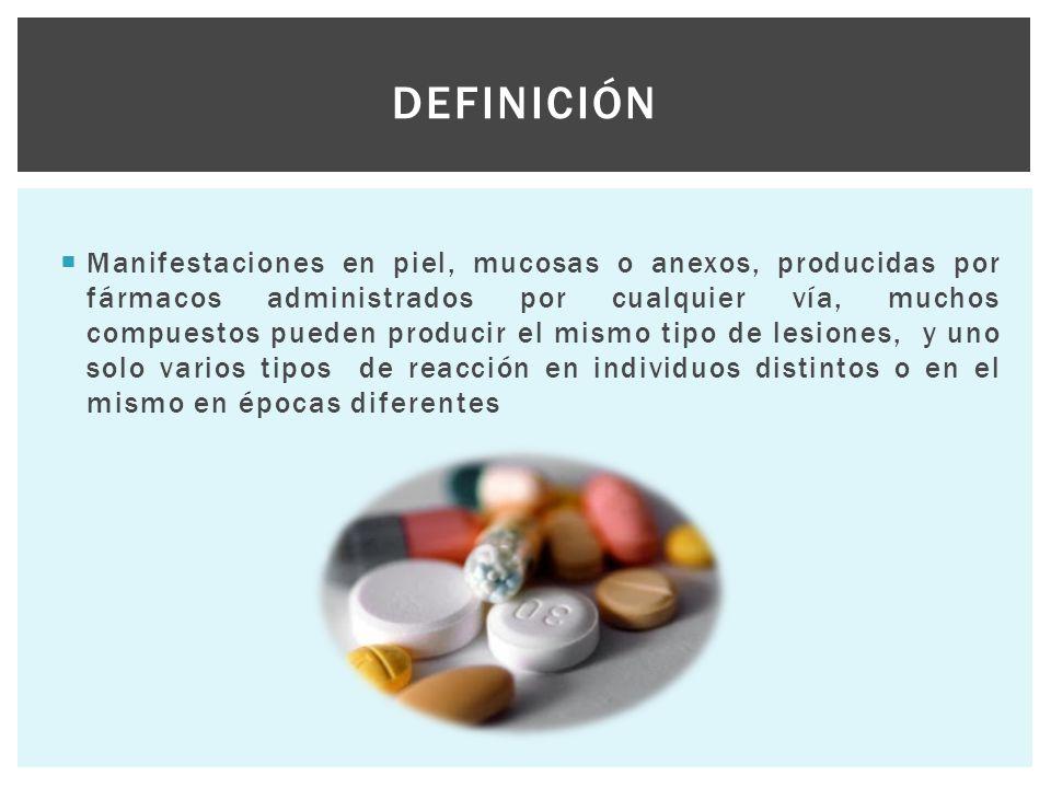  Manifestaciones en piel, mucosas o anexos, producidas por fármacos administrados por cualquier vía, muchos compuestos pueden producir el mismo tipo