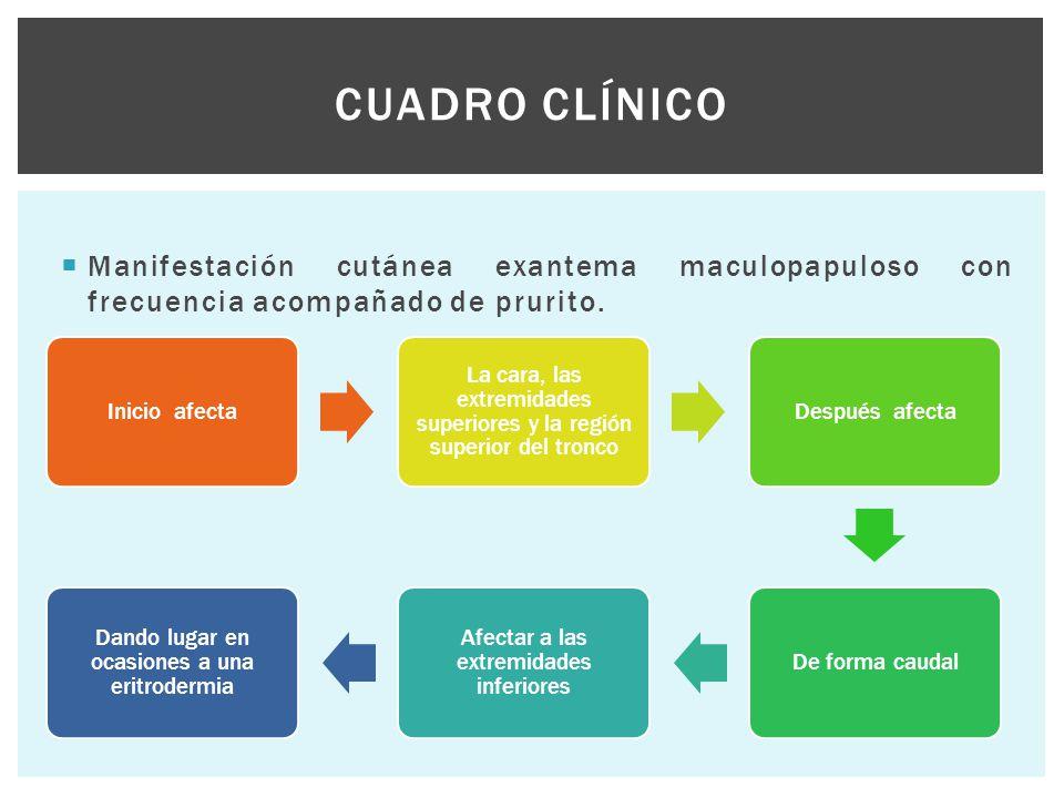  Manifestación cutánea exantema maculopapuloso con frecuencia acompañado de prurito. CUADRO CLÍNICO Inicio afecta La cara, las extremidades superiore