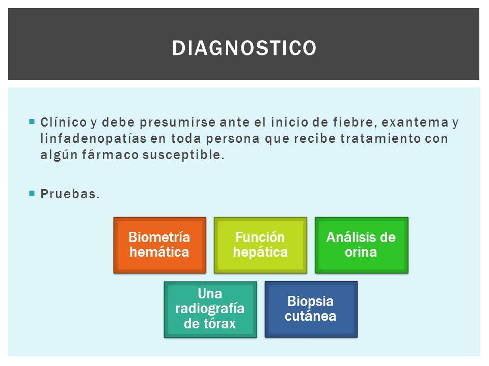  Clínico y debe presumirse ante el inicio de fiebre, exantema y linfadenopatías en toda persona que recibe tratamiento con algún fármaco susceptible.
