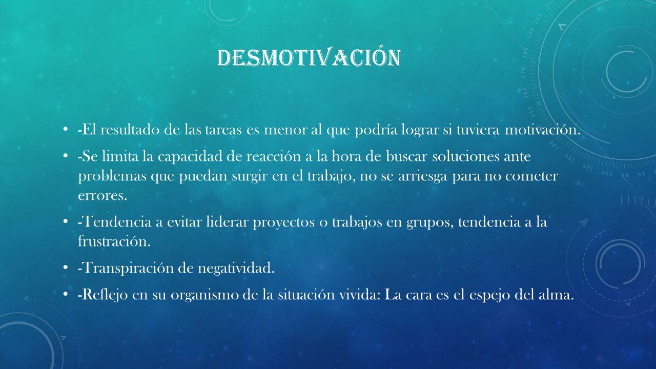 DESMOTIVACIÓN -El resultado de las tareas es menor al que podría lograr si tuviera motivación.