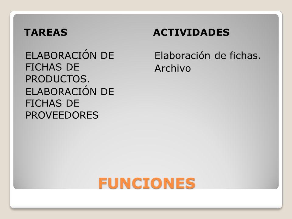 FUNCIONES TAREASACTIVIDADES ELABORACIÓN DE FICHAS DE PRODUCTOS. ELABORACIÓN DE FICHAS DE PROVEEDORES Elaboración de fichas. Archivo