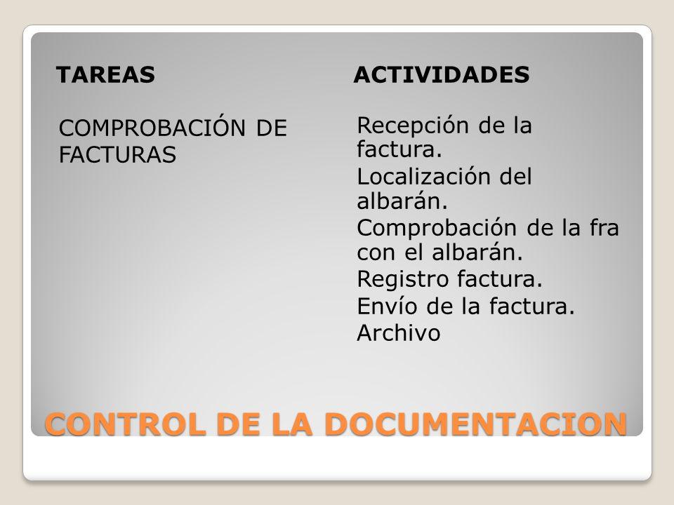 CONTROL DE LA DOCUMENTACION TAREASACTIVIDADES COMPROBACIÓN DE FACTURAS Recepción de la factura. Localización del albarán. Comprobación de la fra con e