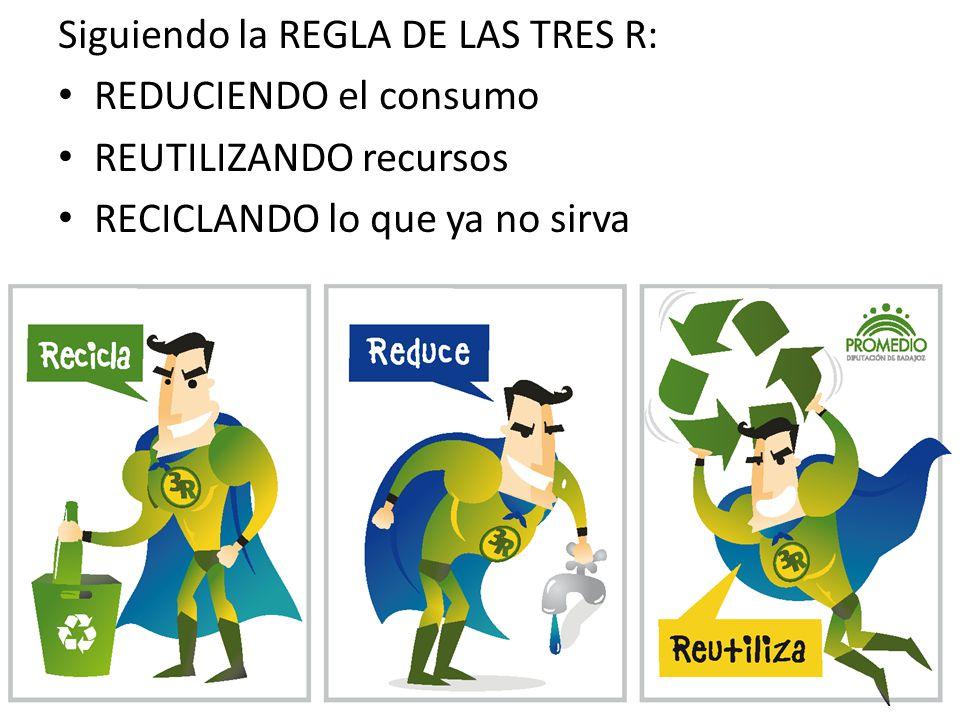 Siguiendo la REGLA DE LAS TRES R: REDUCIENDO el consumo REUTILIZANDO recursos RECICLANDO lo que ya no sirva