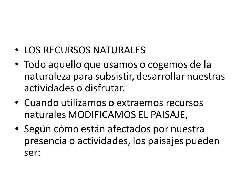 LOS RECURSOS NATURALES Todo aquello que usamos o cogemos de la naturaleza para subsistir, desarrollar nuestras actividades o disfrutar. Cuando utiliza