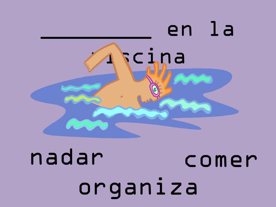 ________ en la piscina comer nadar organiza r