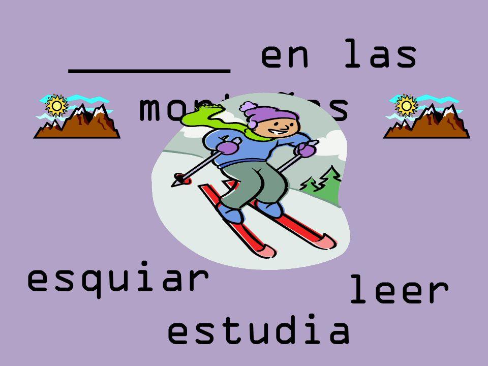 ______ en las montañas leer esquiar estudia r