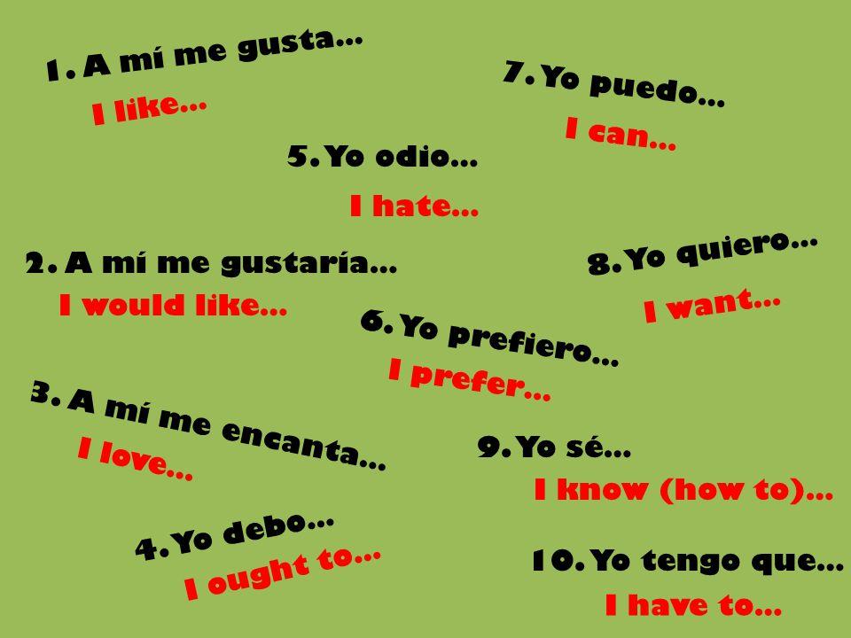 1. A mí me gusta… 4. Yo debo… 8. Yo quiero… 6. Yo prefiero… 10. Yo tengo que… 7. Yo puedo… 5. Yo odio… 9. Yo sé… I like… I would like… I ought to… I h