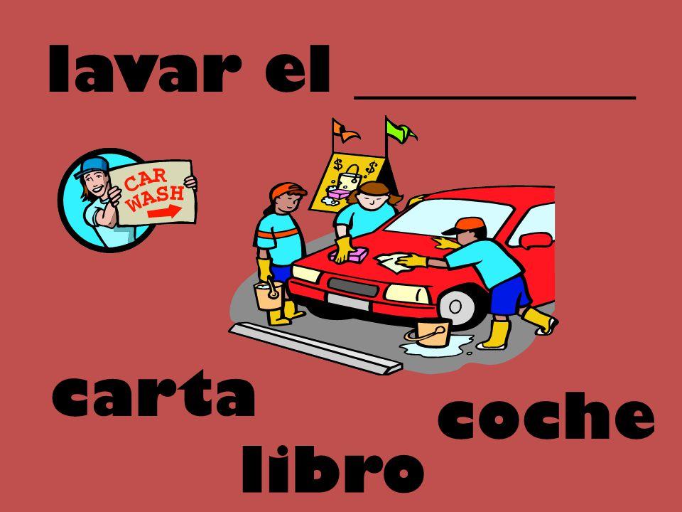 lavar el _________ carta coche libro
