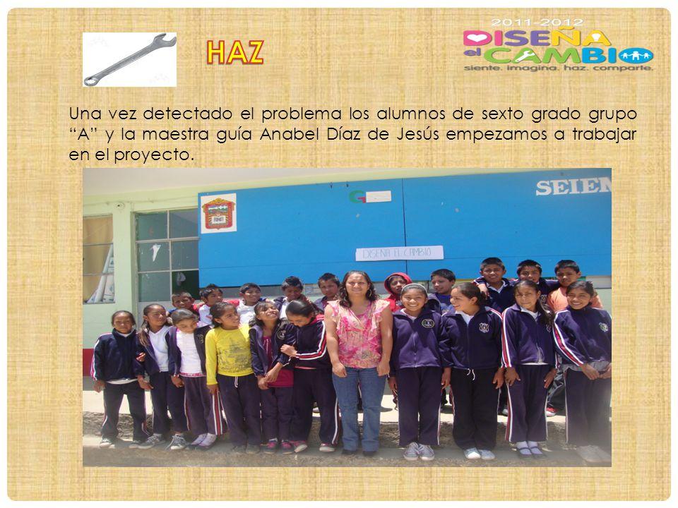 Una vez detectado el problema los alumnos de sexto grado grupo A y la maestra guía Anabel Díaz de Jesús empezamos a trabajar en el proyecto.