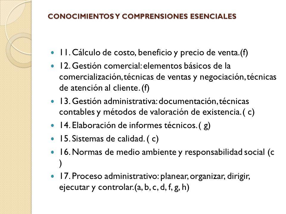 CONOCIMIENTOS Y COMPRENSIONES ESENCIALES 11. Cálculo de costo, beneficio y precio de venta.(f) 12. Gestión comercial: elementos básicos de la comercia