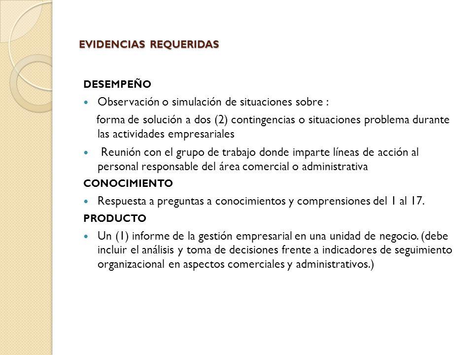 EVIDENCIAS REQUERIDAS DESEMPEÑO Observación o simulación de situaciones sobre : forma de solución a dos (2) contingencias o situaciones problema duran