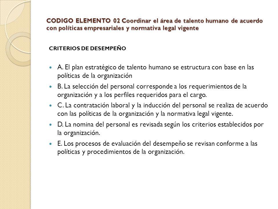 CODIGO ELEMENTO 02 Coordinar el área de talento humano de acuerdo con políticas empresariales y normativa legal vigente CRITERIOS DE DESEMPEÑO A. El p