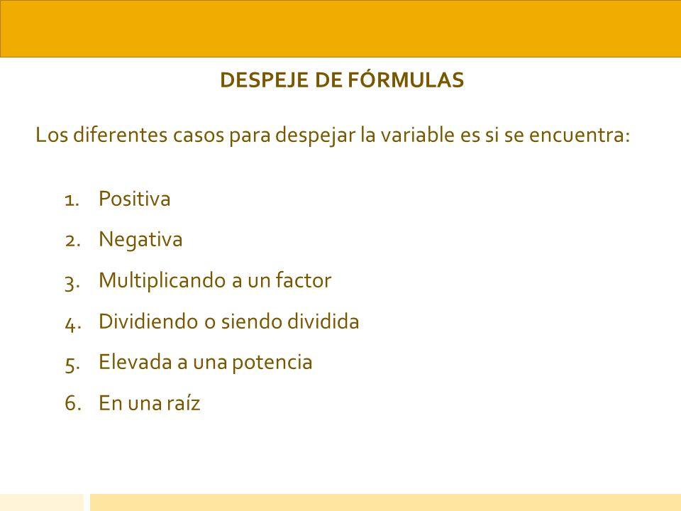 DESPEJE DE FÓRMULAS Los diferentes casos para despejar la variable es si se encuentra: 1.Positiva 2.Negativa 3.Multiplicando a un factor 4.Dividiendo