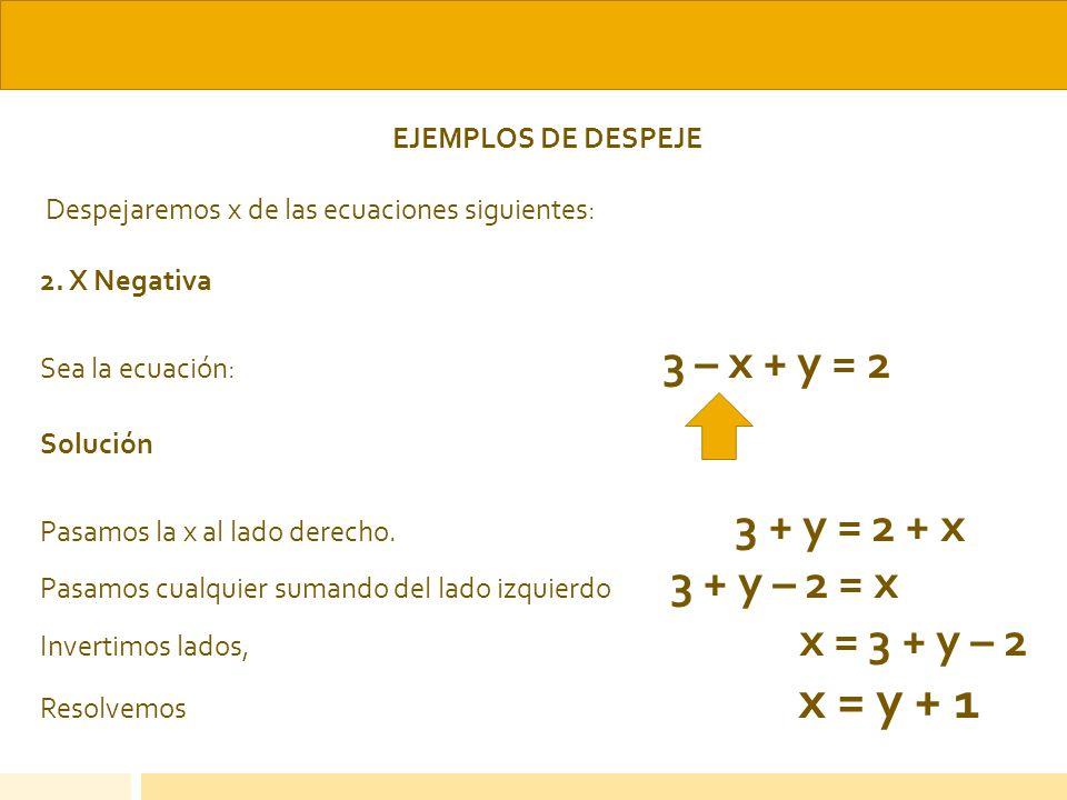 EJEMPLOS DE DESPEJE Despejaremos x de las ecuaciones siguientes: 2. X Negativa Sea la ecuación: 3 – x + y = 2 Solución Pasamos la x al lado derecho. 3