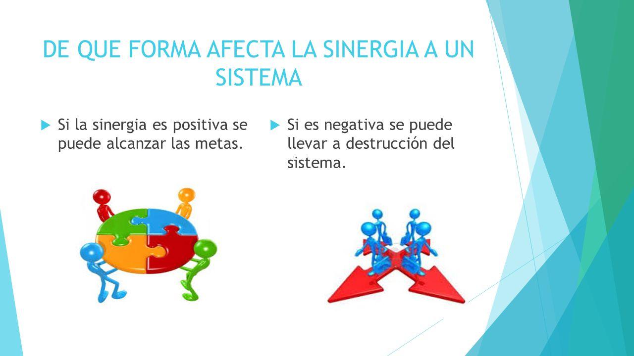 DE QUE FORMA AFECTA LA SINERGIA A UN SISTEMA  Si la sinergia es positiva se puede alcanzar las metas.