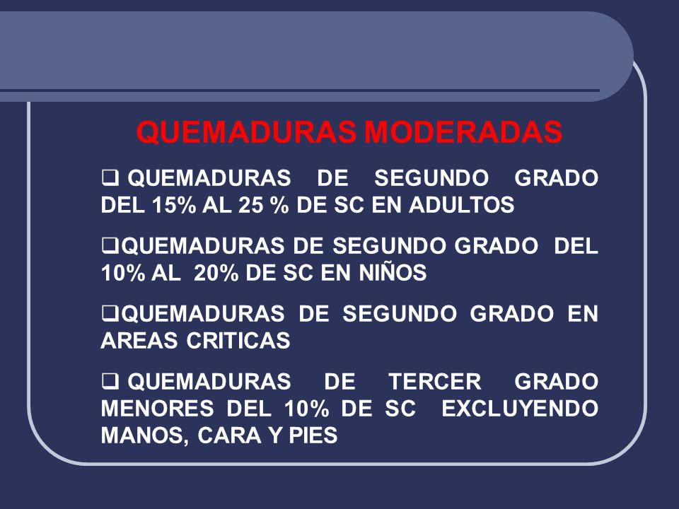 QUEMADURAS MODERADAS  QUEMADURAS DE SEGUNDO GRADO DEL 15% AL 25 % DE SC EN ADULTOS  QUEMADURAS DE SEGUNDO GRADO DEL 10% AL 20% DE SC EN NIÑOS  QUEM