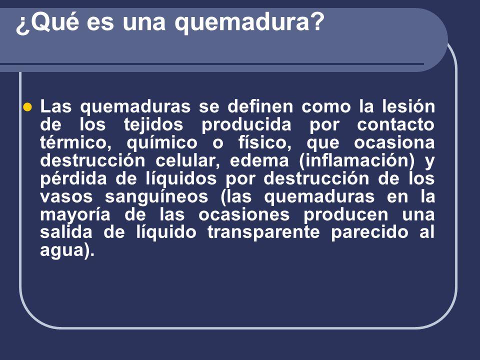 TIPOS DE QUEMADURAS SEGÚN PROFUNDIDAD: Primer Grado: Afecta epidermis Segundo Grado: Dermis.