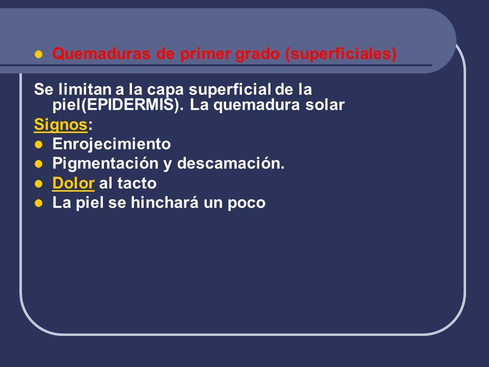 Quemaduras de primer grado (superficiales) Se limitan a la capa superficial de la piel(EPIDERMIS). La quemadura solar SignosSignos: Enrojecimiento Pig