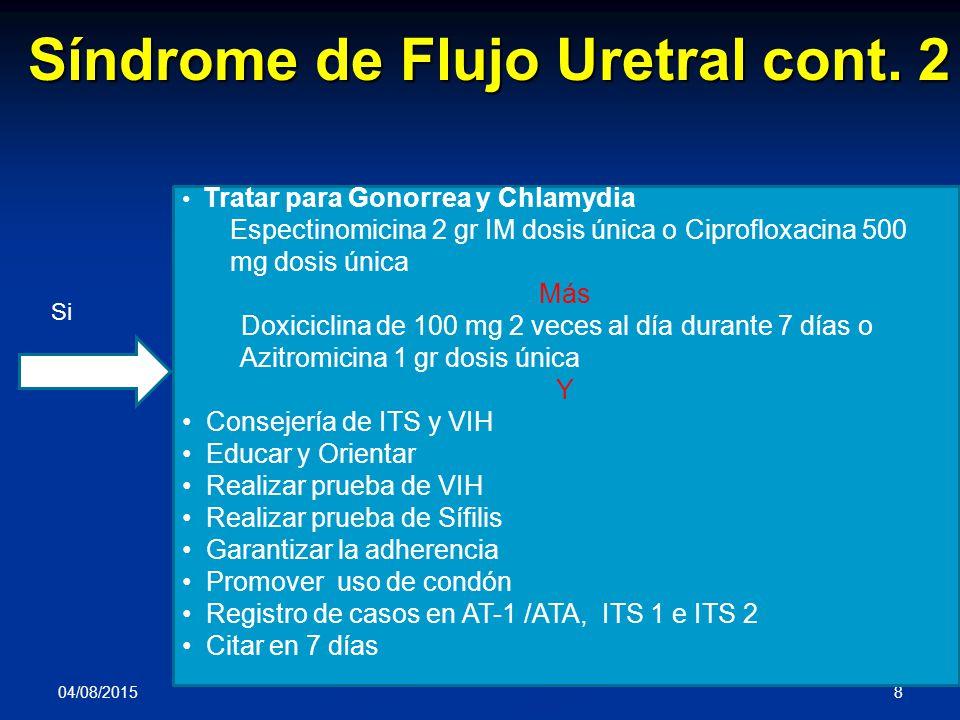 Síndrome de Flujo Uretral cont. 2 04/08/2015 8 Si Tratar para Gonorrea y Chlamydia Espectinomicina 2 gr IM dosis única o Ciprofloxacina 500 mg dosis ú