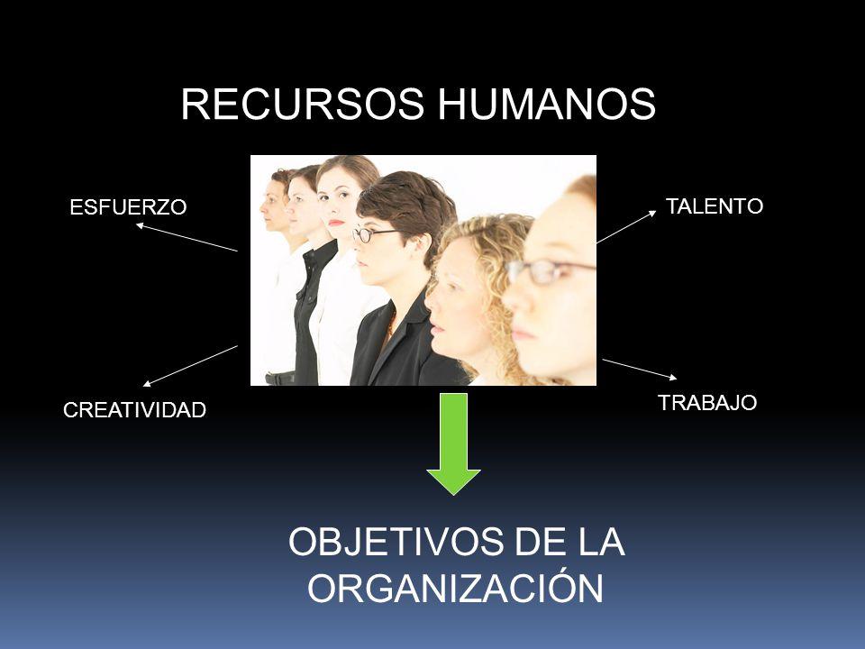 RECURSOS HUMANOS ESFUERZO TALENTO TRABAJO CREATIVIDAD OBJETIVOS DE LA ORGANIZACIÓN