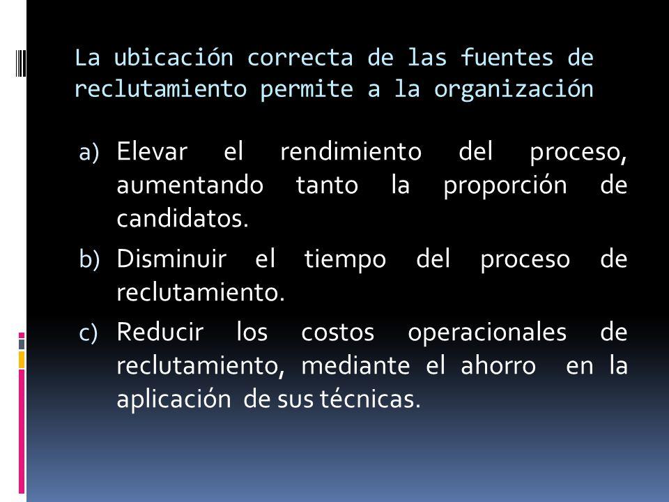 La ubicación correcta de las fuentes de reclutamiento permite a la organización a) Elevar el rendimiento del proceso, aumentando tanto la proporción d