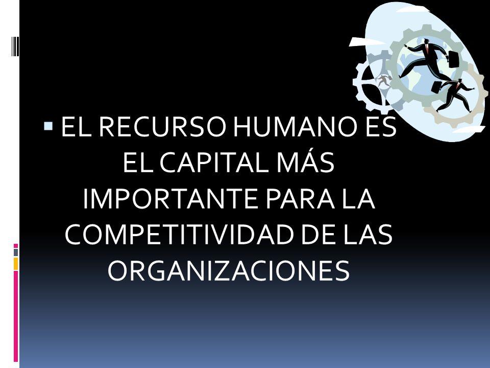  EL RECURSO HUMANO ES EL CAPITAL MÁS IMPORTANTE PARA LA COMPETITIVIDAD DE LAS ORGANIZACIONES
