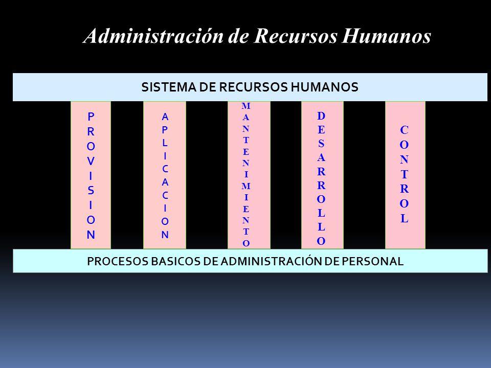 SISTEMA DE RECURSOS HUMANOS PROCESOS BASICOS DE ADMINISTRACIÓN DE PERSONAL PROVISIONPROVISION MANTENIMIENTOMANTENIMIENTO DESARROLLODESARROLLO CONTROLC