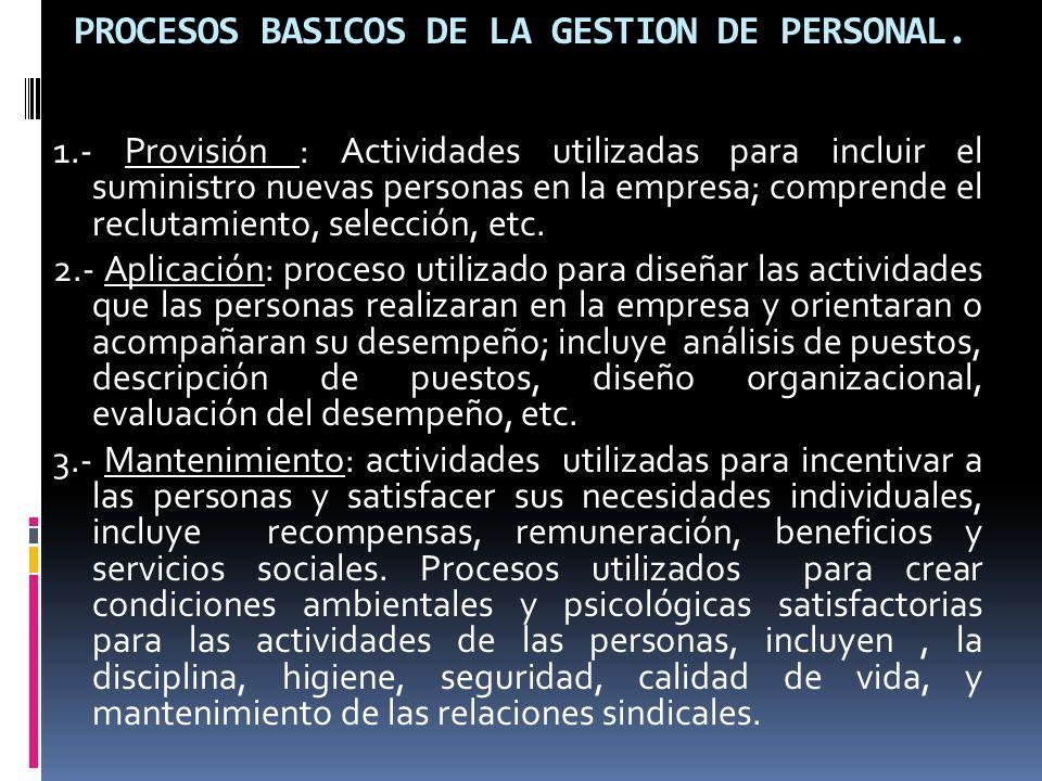 PROCESOS BASICOS DE LA GESTION DE PERSONAL. 1.- Provisión : Actividades utilizadas para incluir el suministro nuevas personas en la empresa; comprende