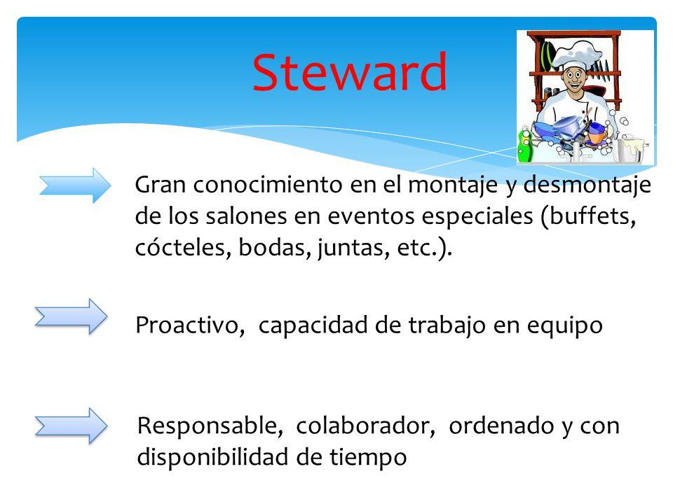 Steward Proactivo, capacidad de trabajo en equipo Gran conocimiento en el montaje y desmontaje de los salones en eventos especiales (buffets, cócteles, bodas, juntas, etc.).