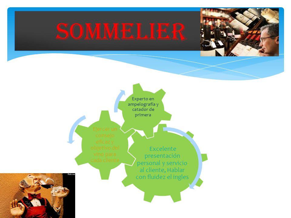 Excelente presentación personal y servicio al cliente, Hablar con fluidez el ingles Ejercer un consejo eficaz y objetivo del vino para cada cliente Experto en ampelografía y catador de primera Sommelier