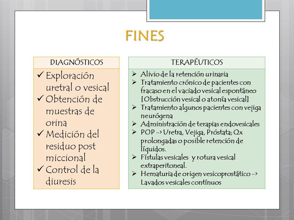 FINES DIAGNÓSTICOS Exploración uretral o vesical Obtención de muestras de orina Medición del residuo post miccional Control de la diuresis TERAPÉUTICO