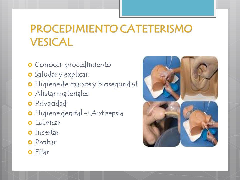 PROCEDIMIENTO CATETERISMO VESICAL  Conocer procedimiento  Saludar y explicar.  Higiene de manos y bioseguridad  Alistar materiales  Privacidad 