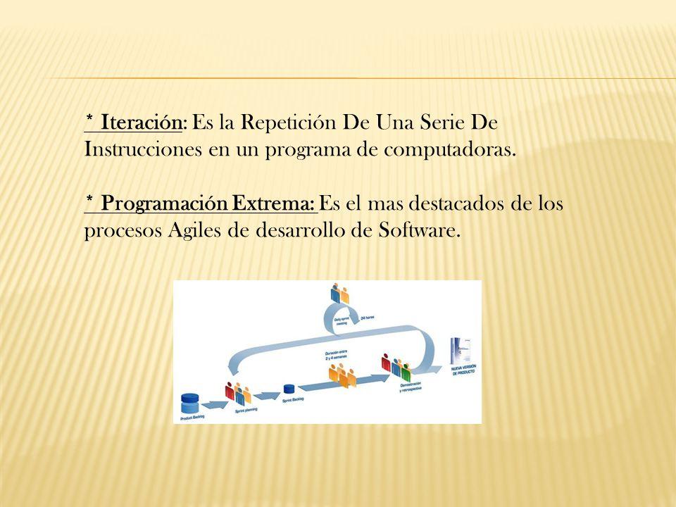 * Iteración: Es la Repetición De Una Serie De Instrucciones en un programa de computadoras.