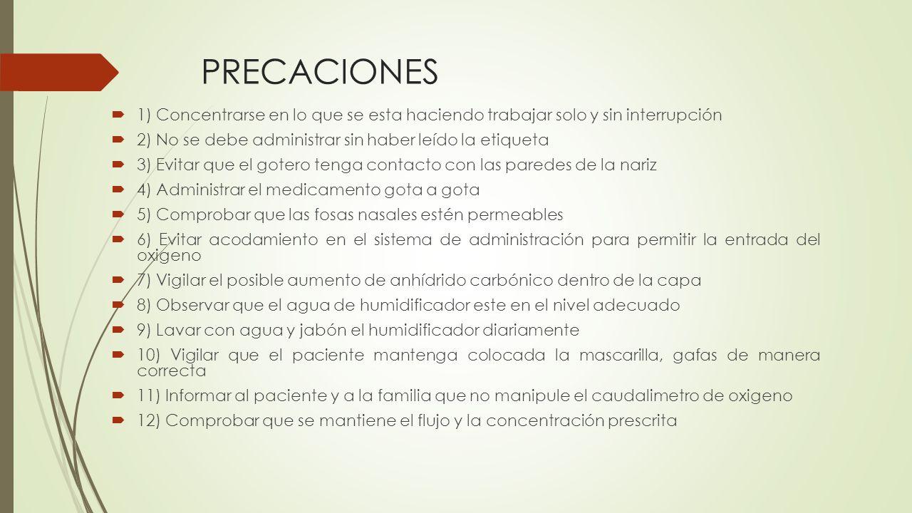 PRECACIONES  1) Concentrarse en lo que se esta haciendo trabajar solo y sin interrupción  2) No se debe administrar sin haber leído la etiqueta  3)