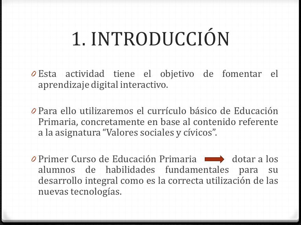 1. INTRODUCCIÓN 0 Esta actividad tiene el objetivo de fomentar el aprendizaje digital interactivo. 0 Para ello utilizaremos el currículo básico de Edu