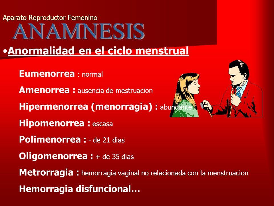 Aparato Reproductor Femenino Anormalidad en el ciclo menstrual Eumenorrea : normal Amenorrea : ausencia de mestruacion Hipermenorrea (menorragia) : abundante Hipomenorrea : escasa Polimenorrea : - de 21 dias Oligomenorrea : + de 35 dias Metrorragia : hemorragia vaginal no relacionada con la menstruacion Hemorragia disfuncional…
